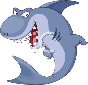 350x337 Cartoon Illustration Of A Shark Smiling With His Sharp Teeth