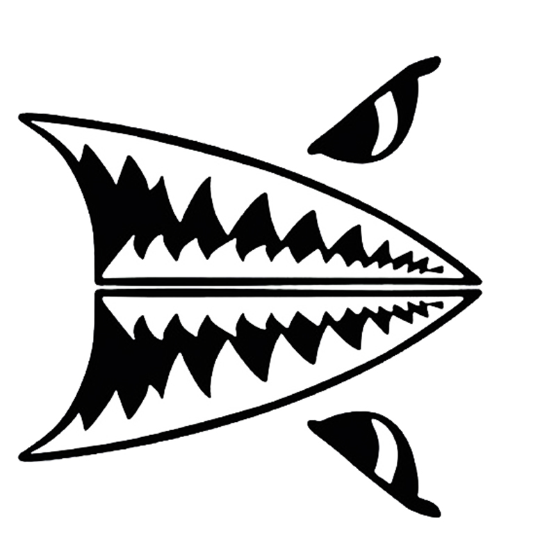 800x800 Mini Shark Teeth Great White Shark Body Decals Stickers Car