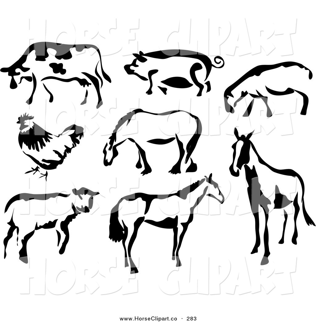 1024x1044 Clip Art Of A Black And White Cow, Pig, Sheep, Chicken And Horses