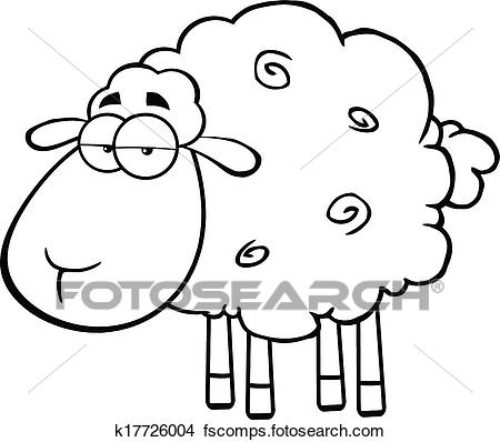 450x398 Clipart Of Black And White Cute Sheep K17726004
