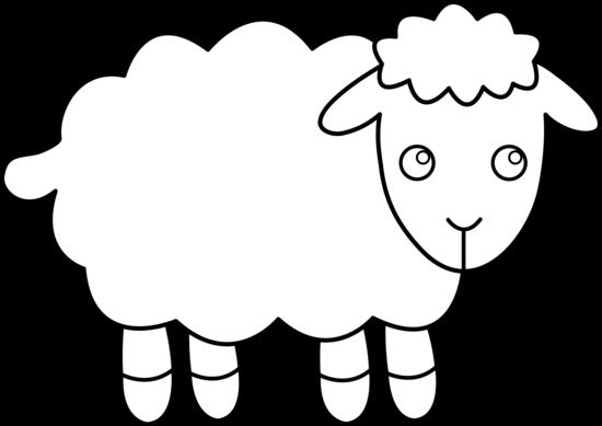 550x389 Cute Sheep Line Art