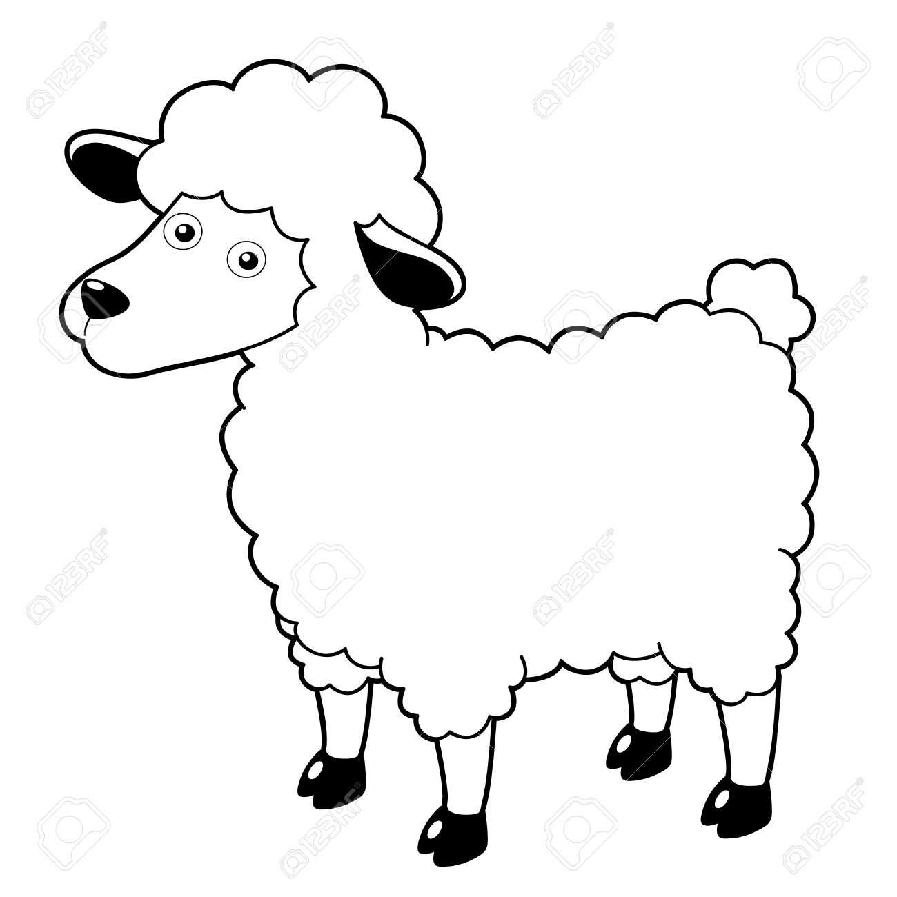 1300x1300 Drawn Sheep Cartoon Black And White
