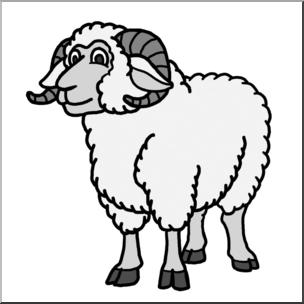 304x304 Clip Art Cartoon Sheep Ram Grayscale I Abcteach