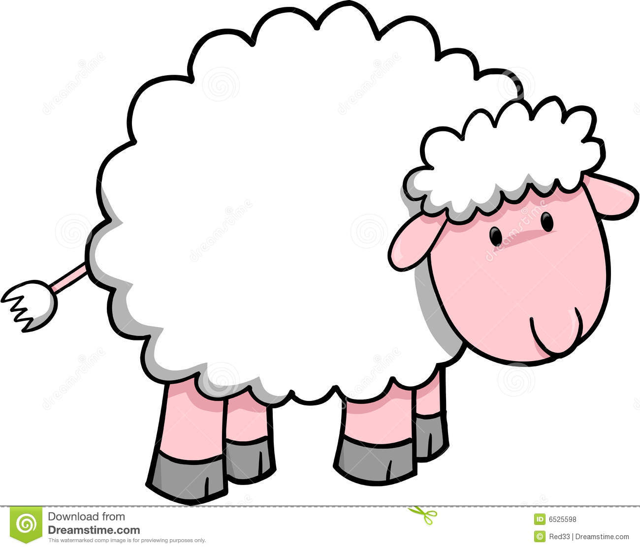 Sheep fluffy. Clipart black and white