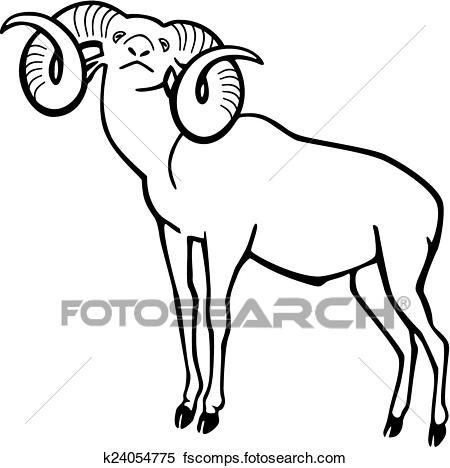 450x468 Clipart Of Mouflon Wild Sheep K24054775