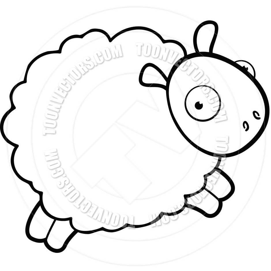 940x940 Sheep Jumping (Black And White Line Art) By Cory Thoman Toon