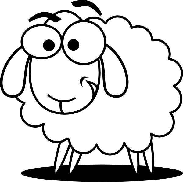600x595 Funny Sheep Outline Clip Art