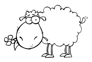 300x202 Black And White Sheep Clipart