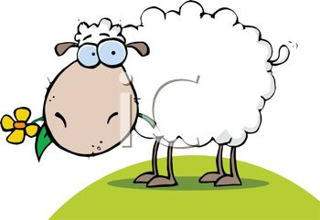 350x241 Clip Art Illustration Of A Sheep Grazing In The Grass
