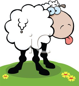 318x350 Clip Art Illustration Of A Sheep Standing In The Grass Sticking