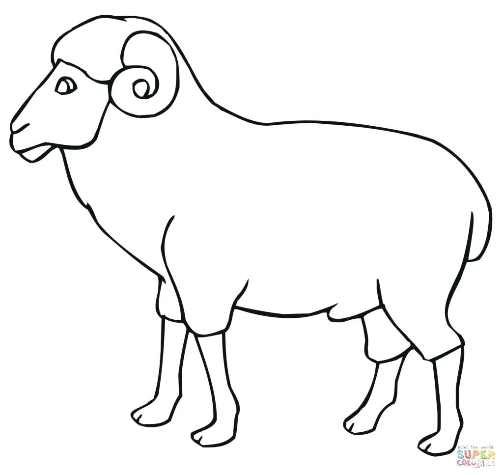 1024x967 Vector Of A Cartoon Bouncing Sheep Coloring Page Outline 65