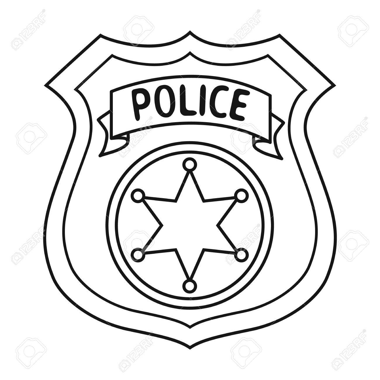 Police badge coloring. Sheriff clipart free download