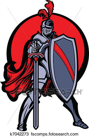 305x470 Clipart of Knight Mascot with Sword and Shield k7042273