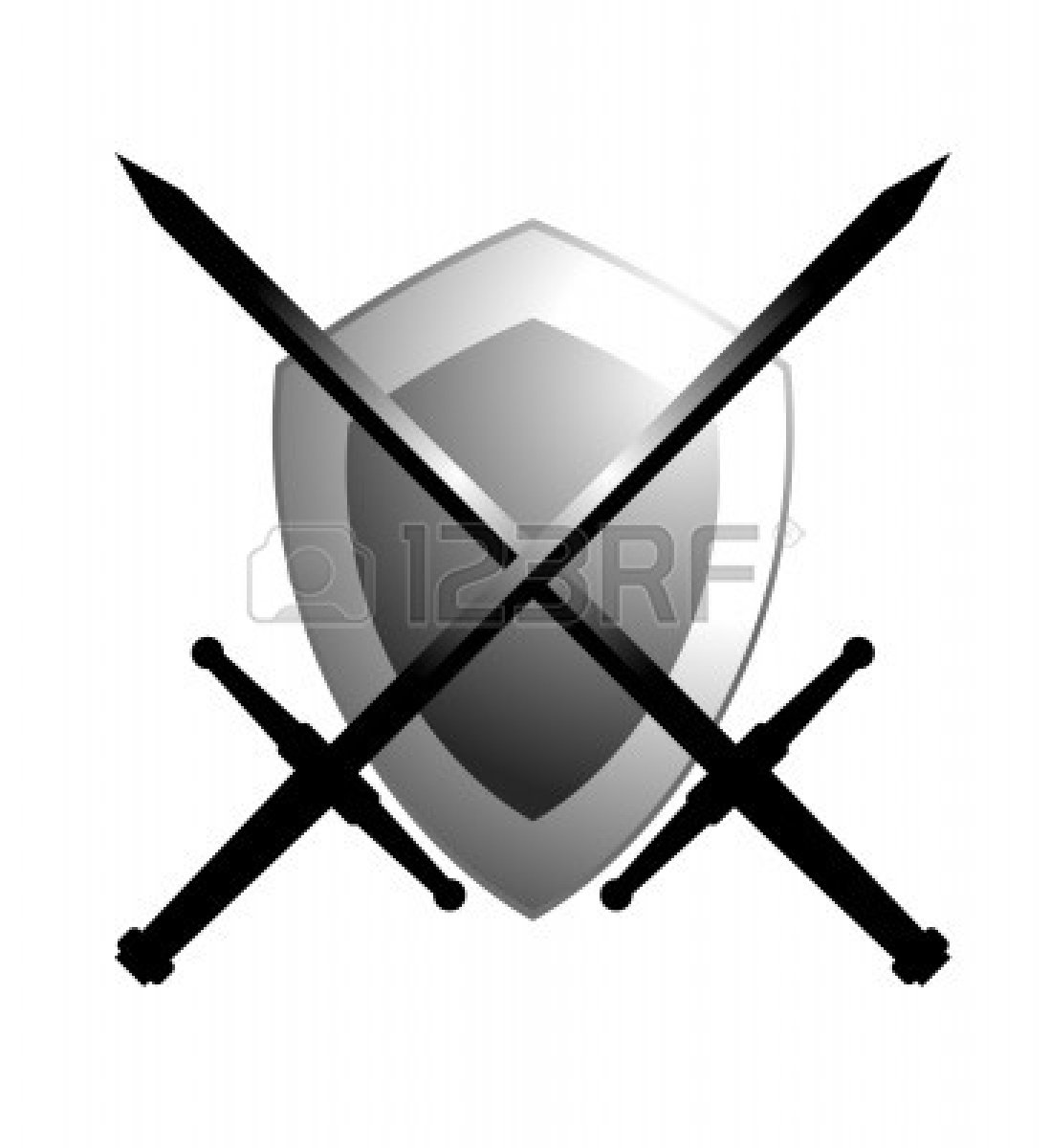 1098x1200 Cross Sword And Shields Clipart