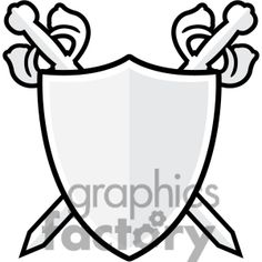 236x236 Heraldic Shield with Cross Swords and Banner Clip Art Download