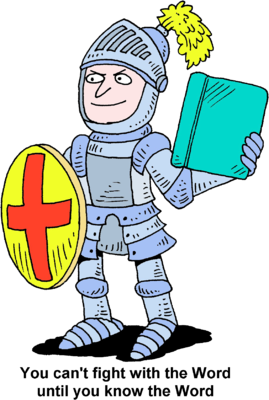 269x400 Image Knight in armor holding up shield and Bible