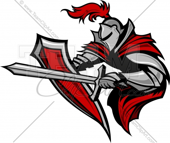 590x496 Knight Mascot with Sword and Shield Vector Clipart Image