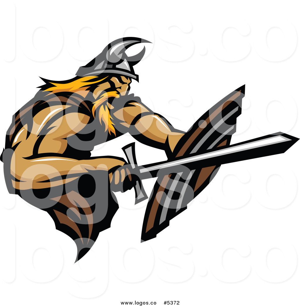 1024x1044 Royalty Free Vector of a Logo of a Defensive Viking Warrior with a