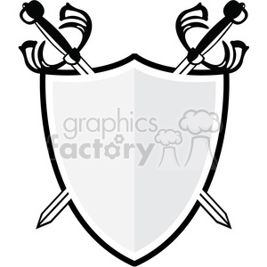 300x300 Royalty Free vector swords and shield 384852 vector clip art image