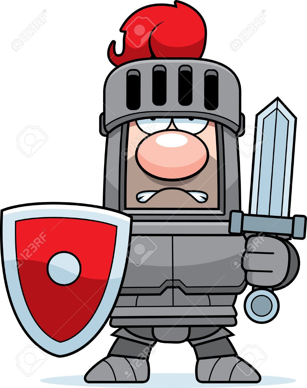 1030x1300 A Cartoon Knight In Armor With Sword And Shield. Royalty Free