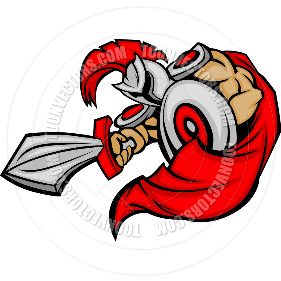 940x940 Trojan Mascot Body with Sword and Shield Cartoon Vector