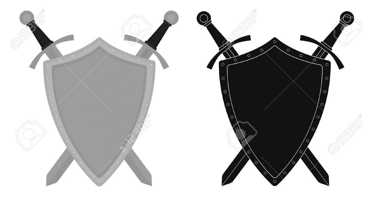 1300x687 Two Crossed Swords Steel Shield Heraldry Emblem. Security Logo