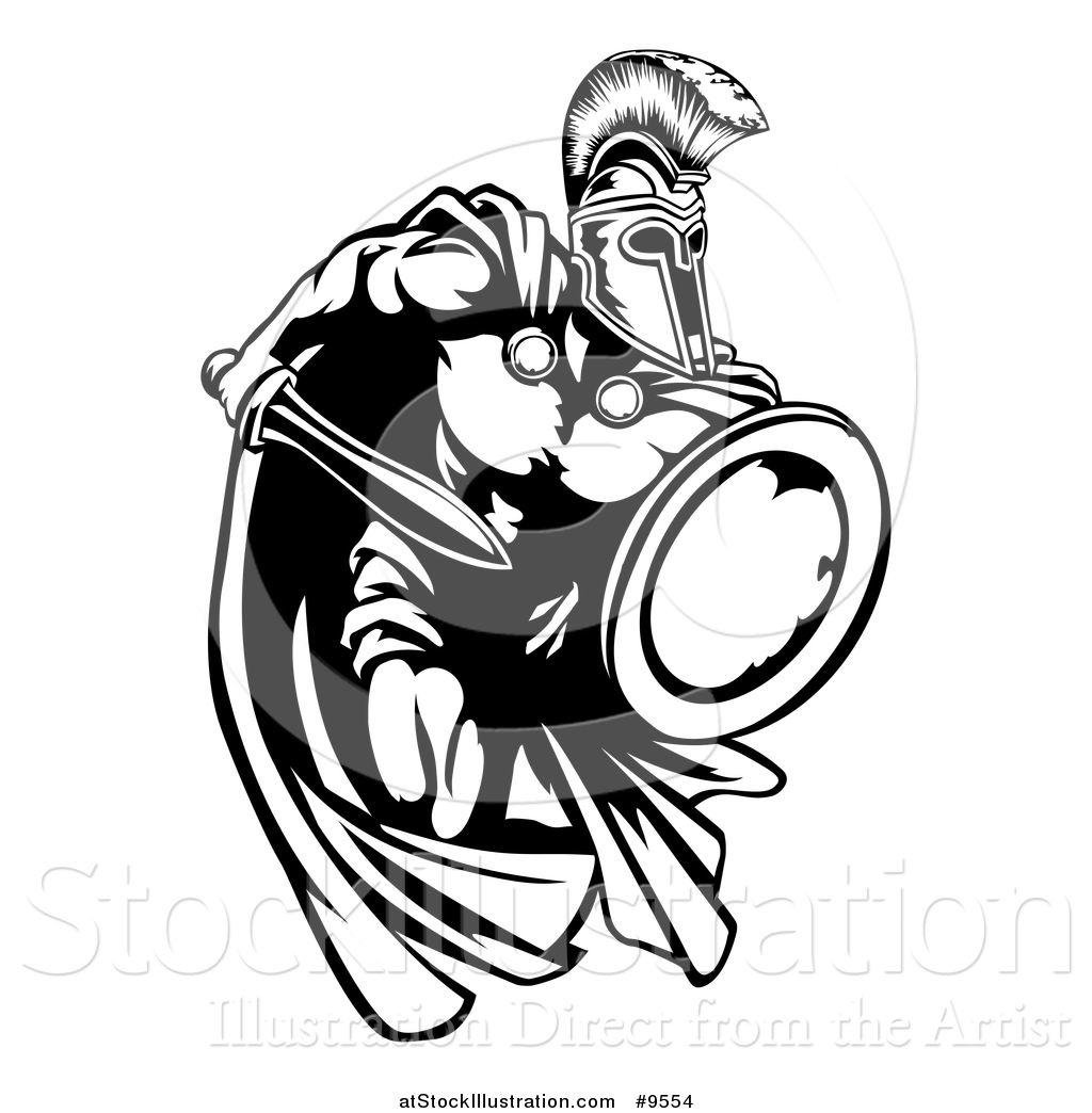 1024x1044 Vector Illustration of a Spartan Warrior Charging Forward with a