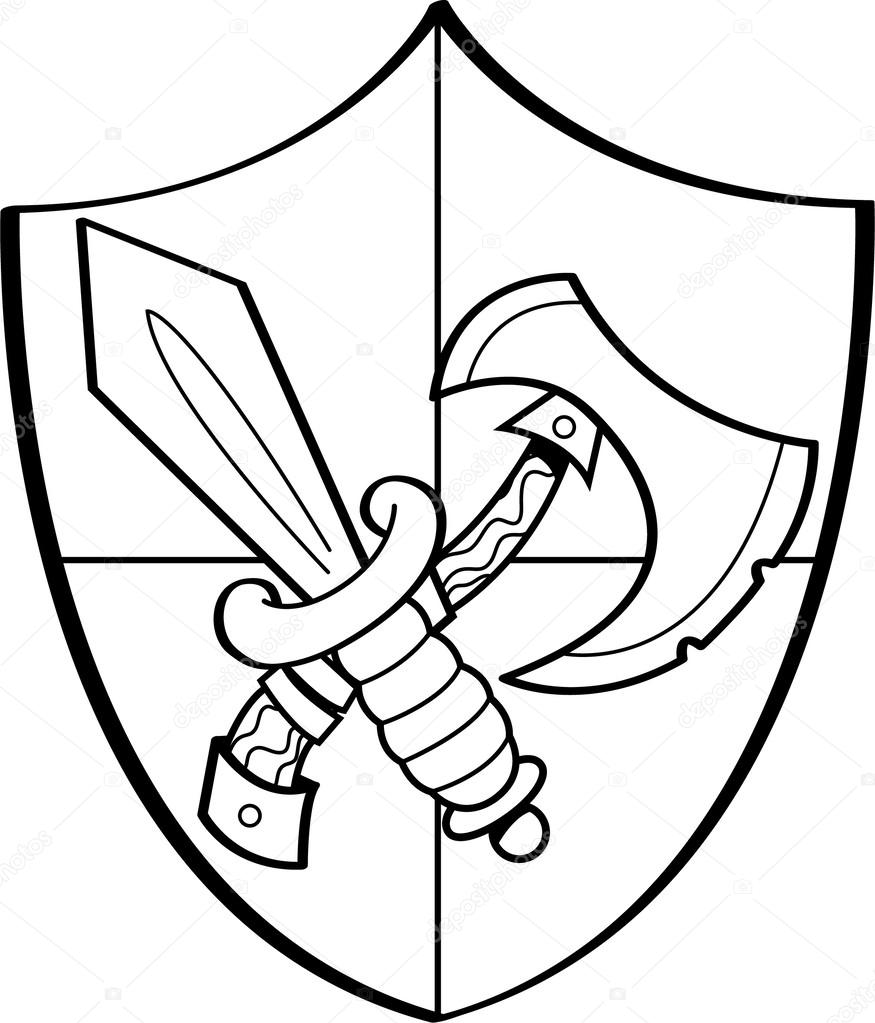 875x1023 Cartoon Sword And Axe On A Shield Stock Vector Kenbenner
