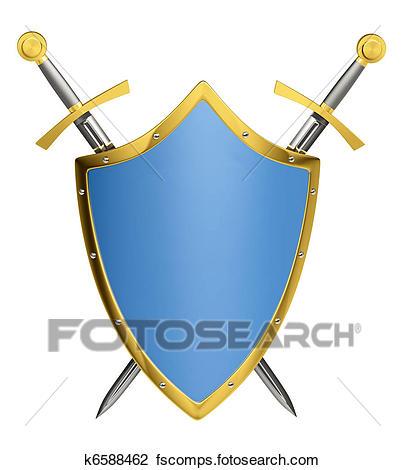 405x470 Clip Art Of Swords Amp Shield K6588462