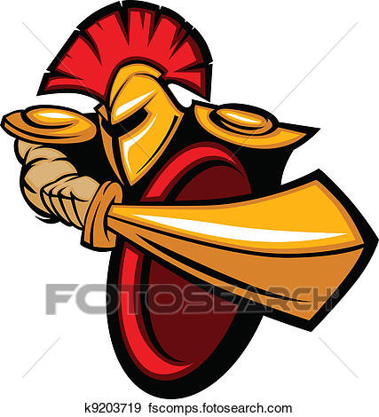 427x470 Clip Art of Trojan Mascot Body with Sword and Shield Vector