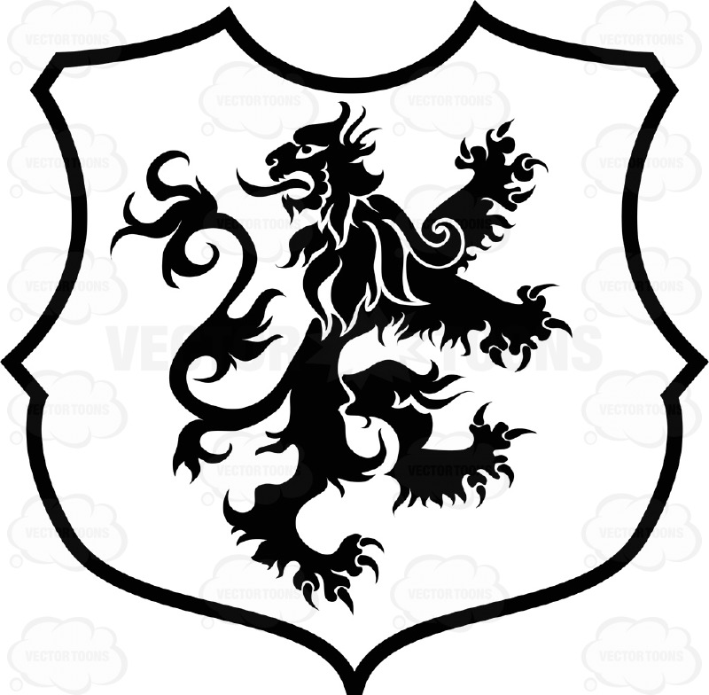 800x784 Black And White Backwards Facing Curly Haired Lion Coat Of Arms