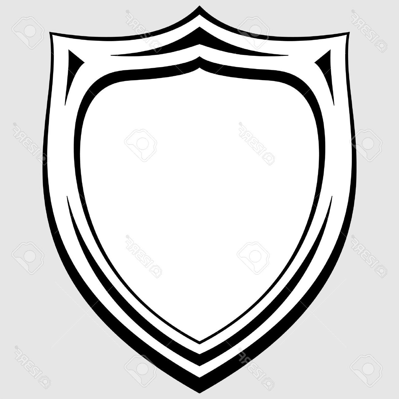 1300x1300 Unique Black And White Heraldic Badge Stock Vector Shield Outline Cdr