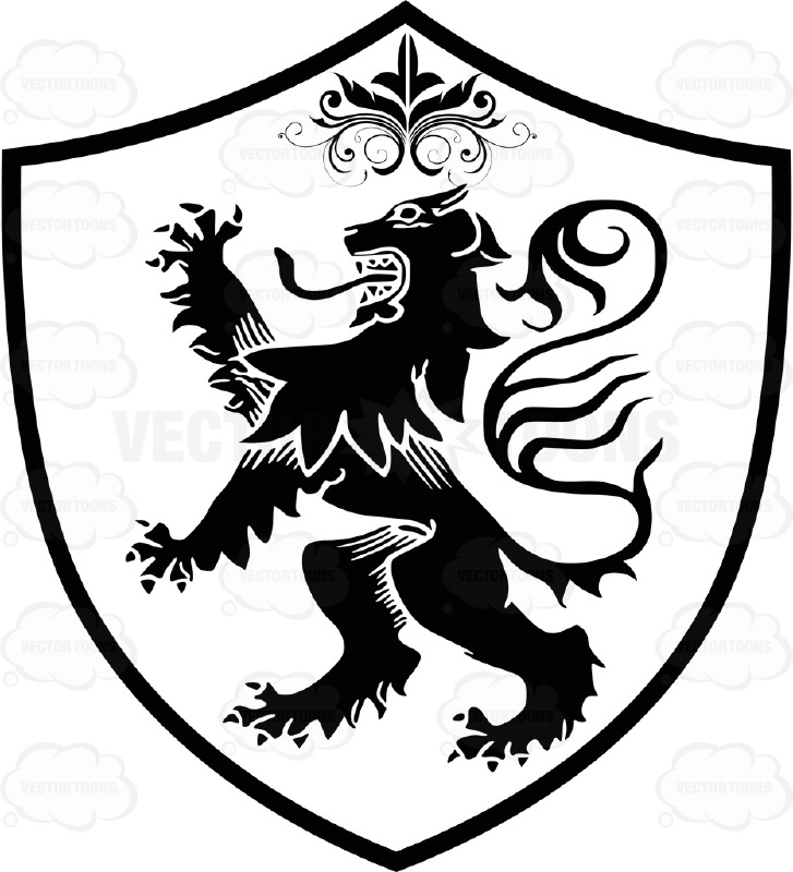 727x800 Black And White Medieval Stylized Lion Standing Up On Two Legs