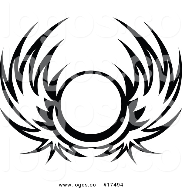 600x620 Vector Logo Of A Black And White Wing Shield By Chromaco