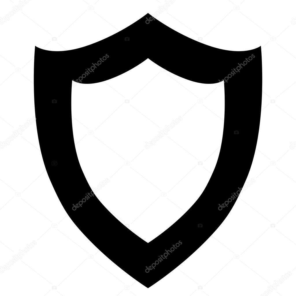 1024x1024 Vector Black Shield Icon On White Background. Stock Vector