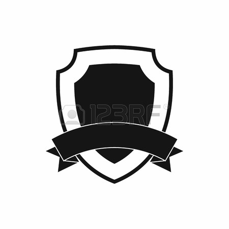 450x450 Black Shield With Ribbon Icon In Simple Style On A White