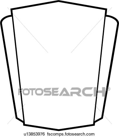 407x470 Clip Art Of , Sign, Blank, Border, Shield, Basic, Panel, Shapes