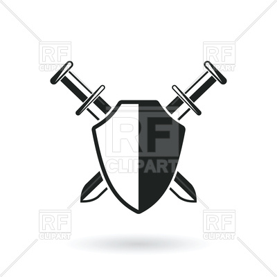 400x400 Crossed Swords With Shield Royalty Free Vector Clip Art Image