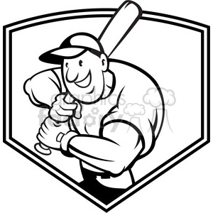 300x300 Royalty Free Black And White Baseball Player Batting Front Shield