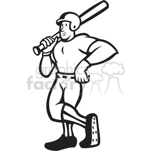 300x300 Royalty Free Black And White Baseball Player Standing Shield