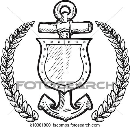 450x444 Clipart Of Maritime Or Naval Shield K10381800