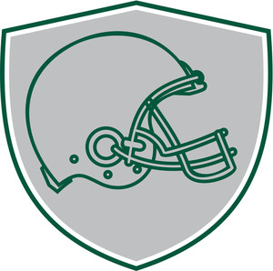 300x298 Line Drawing Illustration Of An American Football Helmet Viewed