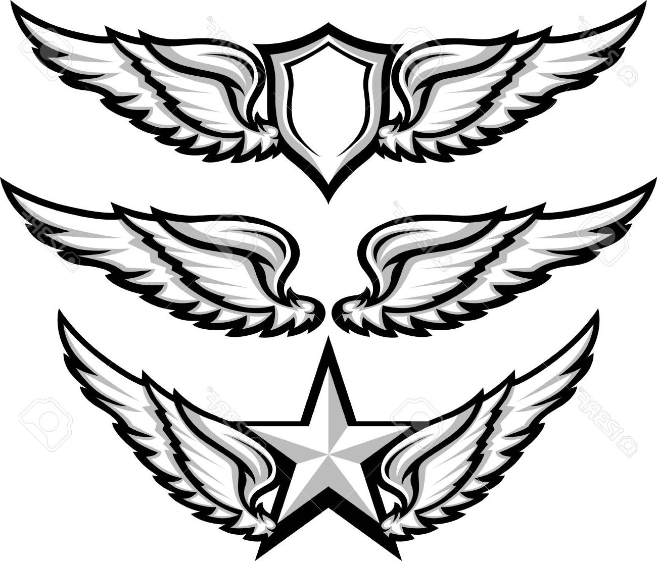 1300x1111 Best Free Shield And Wings Emblems Illustration Stock Vector Wing