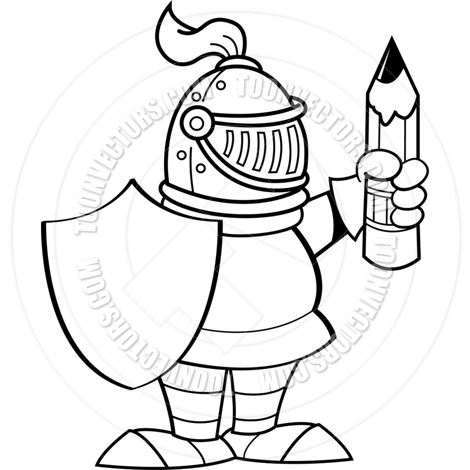 940x940 Cartoon Knight Holding A Shield And A Pencil (Black Amp White Line