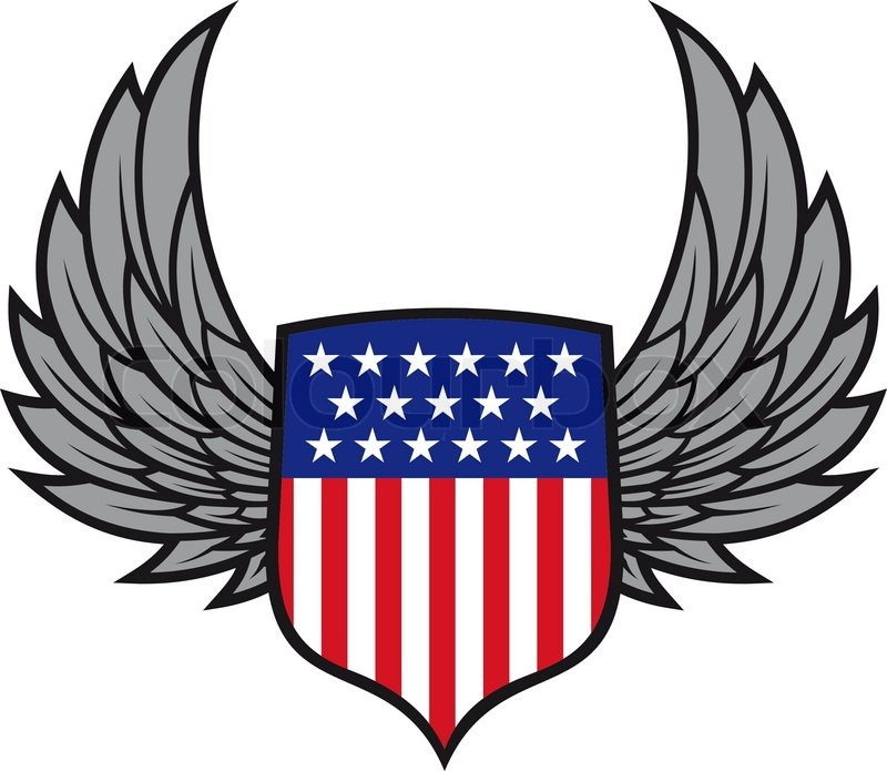 800x695 Shield with wings as a USA heraldic symbol for design Stock