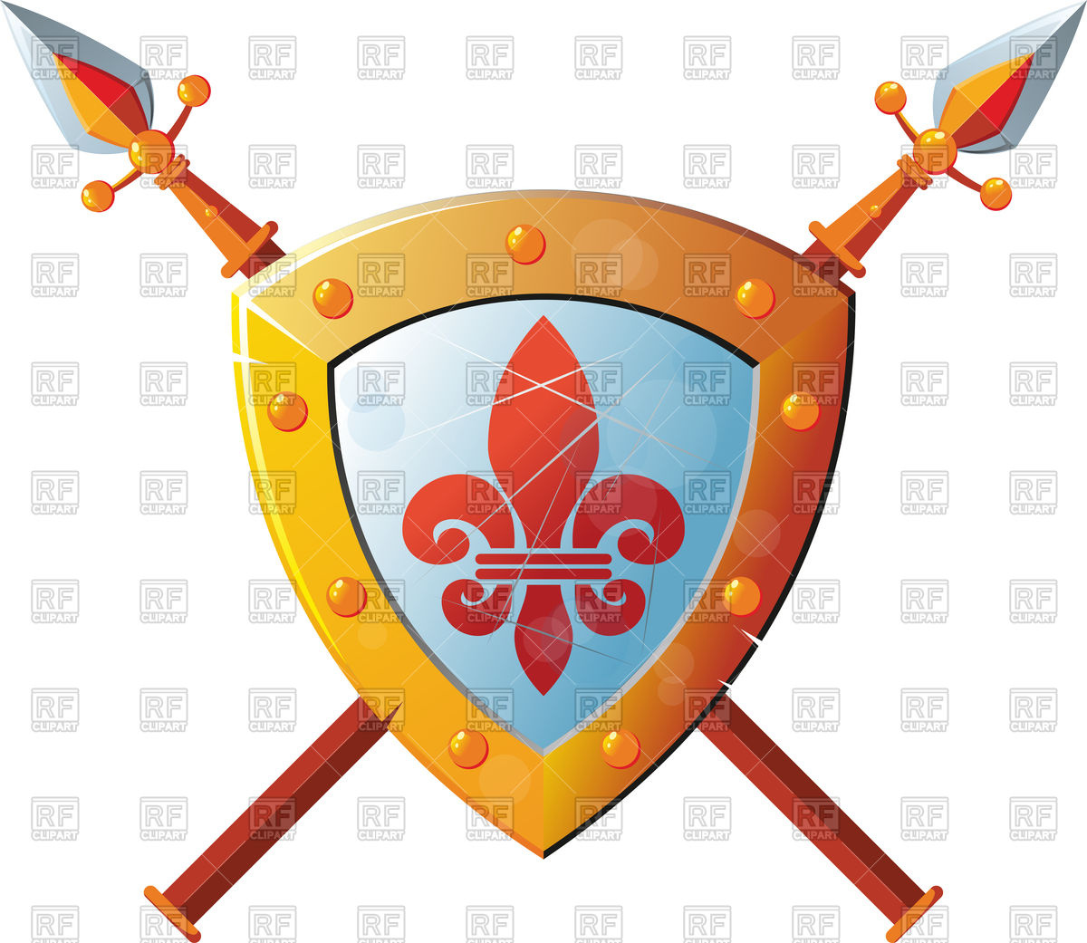 1200x1041 Beautiful Knight Shield With Two Crossed Spears Royalty Free