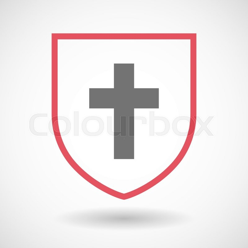 800x800 Illustration Of An Isolated Line Art Shield Icon With A Christian