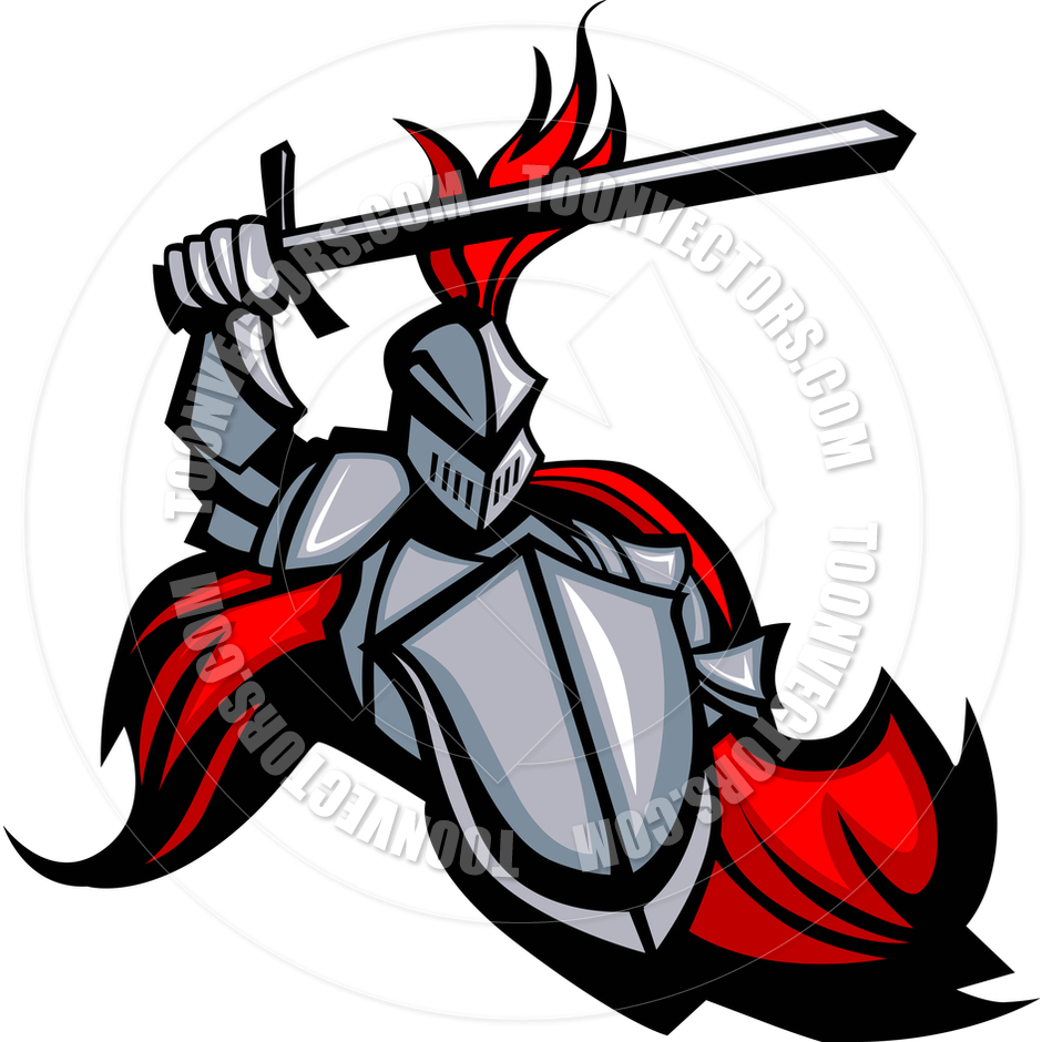 940x940 Medieval Knight With Sword And Shield Vector Mascot By Chromaco