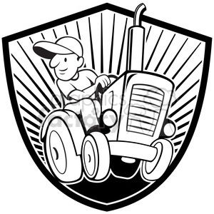 300x300 Royalty Free Black And White Farmer Driving Tractor Front Shield
