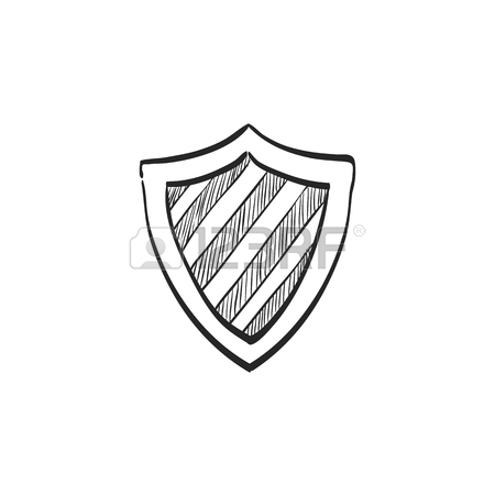 450x450 Shield Icon With Checkmark In Doodle Sketch Lines. Protection